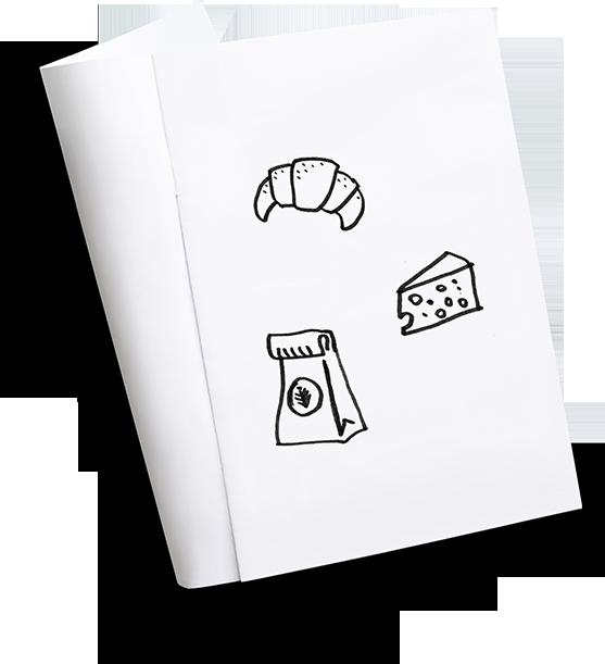 Skizzenbuch mit Icons