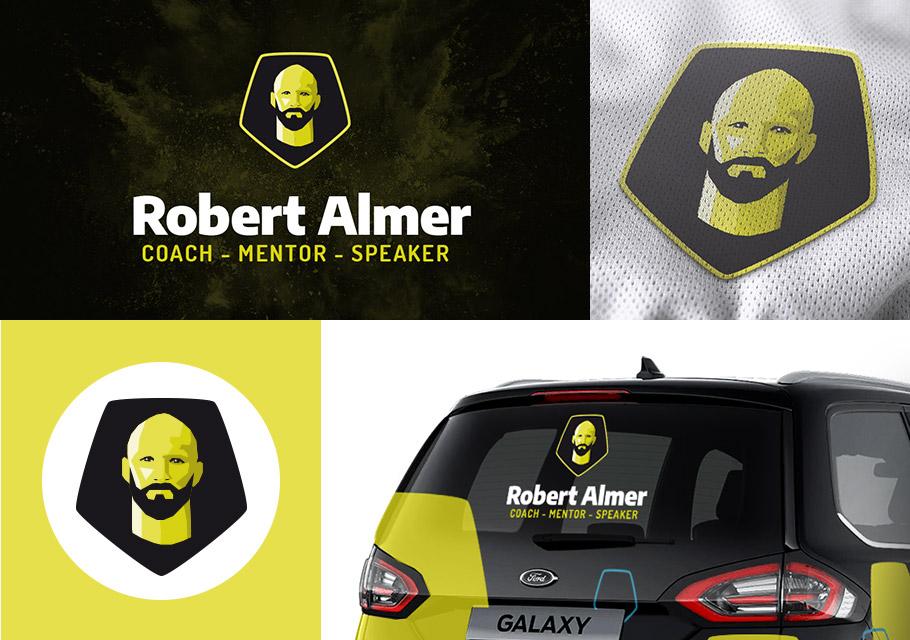 Das neue Logo von Robert Almer in verschiedenen Anwendungen