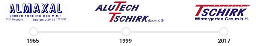 Logohistorie: Almaxal, Alutech Tschirk, Tschirk Wintergarten