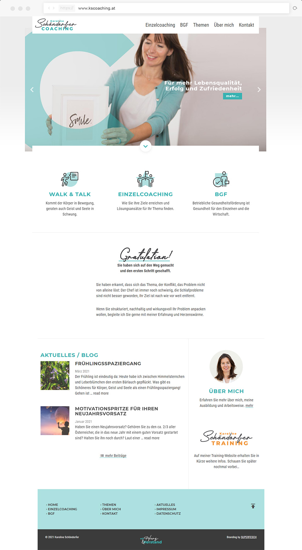 Webdesign für Karoline Schöndorfer Coaching