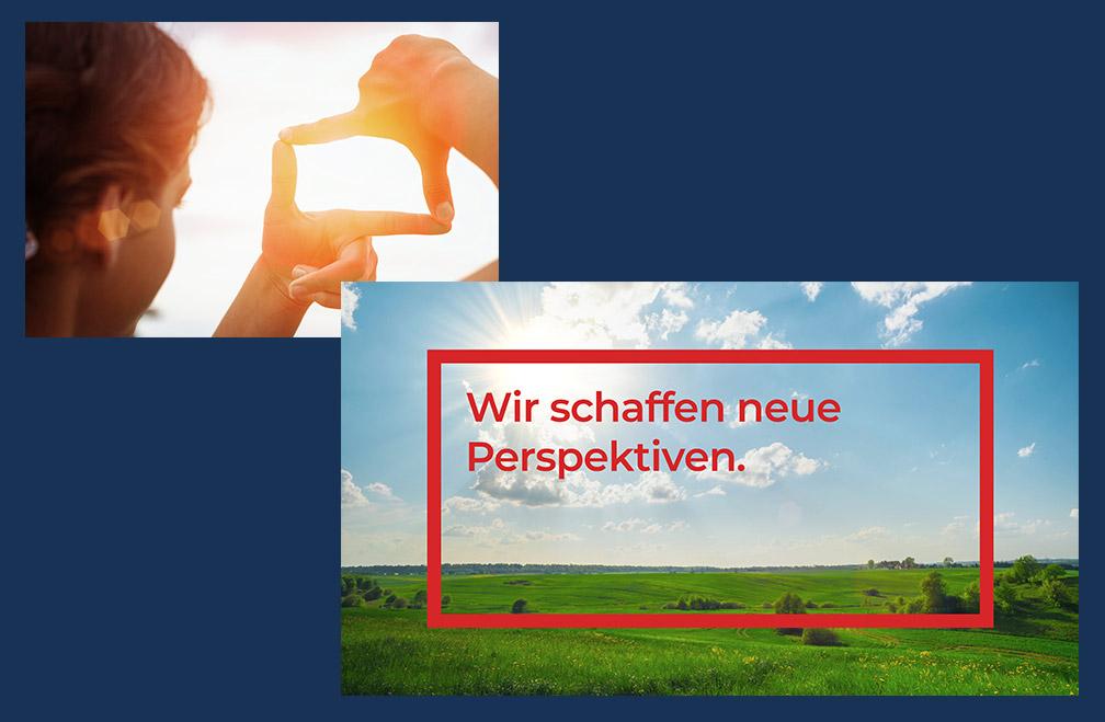 """Keyvisual für Tschirk Alumanufaktur: """"Wir schaffen neue Perspektiven."""""""